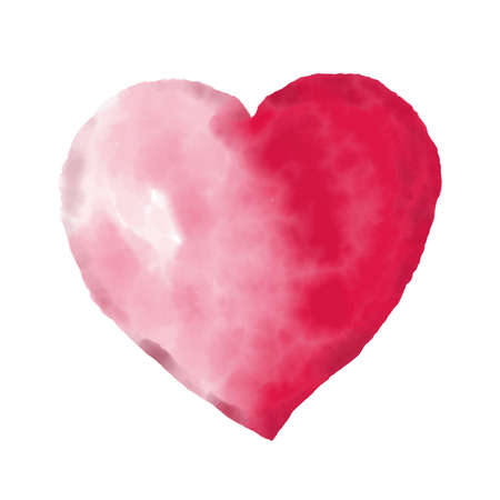 Watercolor beautiful vector heart on white background