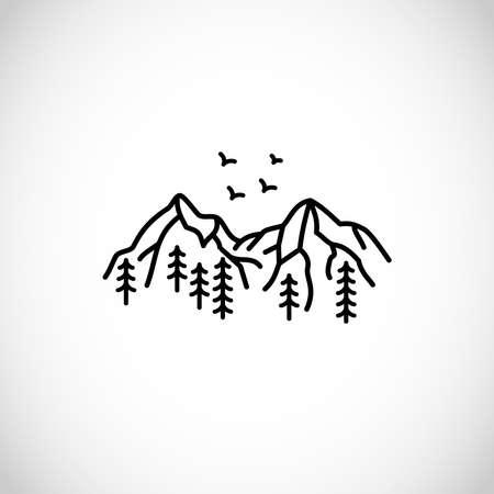 Beautiful simplistic mountain line illustration, vector design 矢量图像