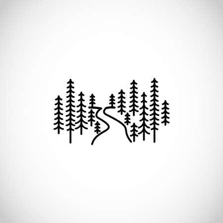 Modern, minimalist forest vector illustration