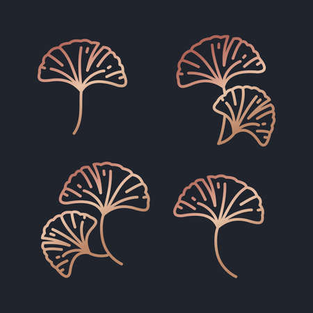 Beautiful rose gold gingko leaves icon set vector 矢量图像
