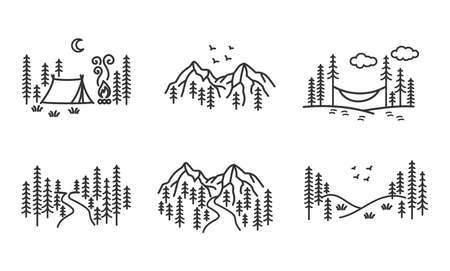 Beautiful, modern, minimalist set of wilderness, camping and outdoors vector illustrations 矢量图像