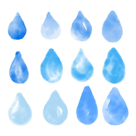 Blue watercolor water drops vector set 矢量图像