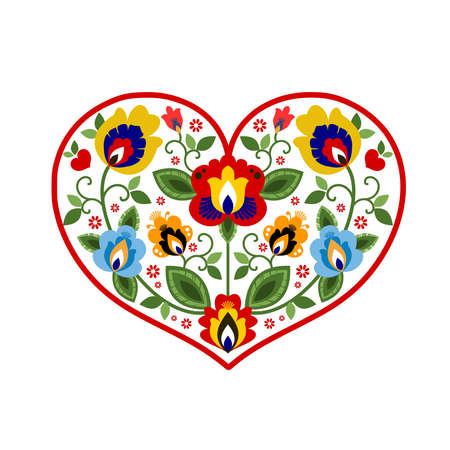 Beautiful traditional Polish folk decorative flowers in the shape of heart vector