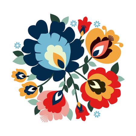 Beautiful traditional Polish folk decorative flowers vector