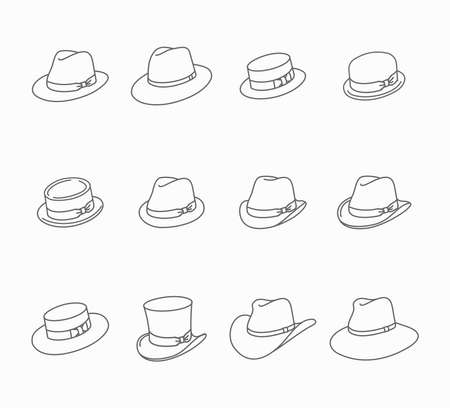 Types of male classic hats - vector thin line icon set 向量圖像