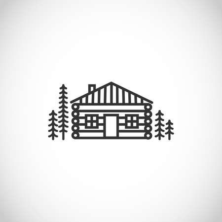 Log house, wooden cabin thin line style vector icon