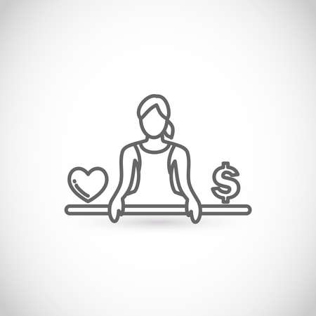 Work-life balance vector thin line style icon