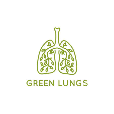 Green lungs with leaves vector icon thin line style