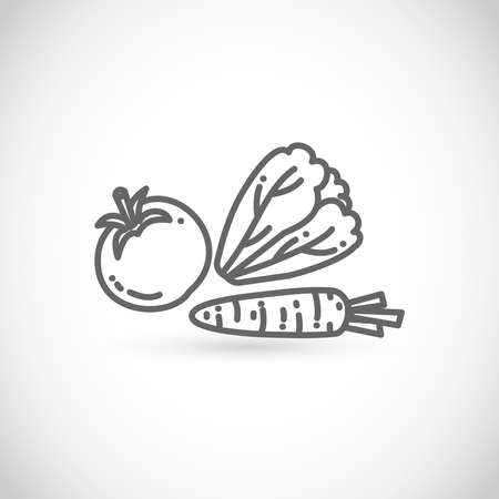 Thin line style vector icon - healthy vegetarian food, vegetables