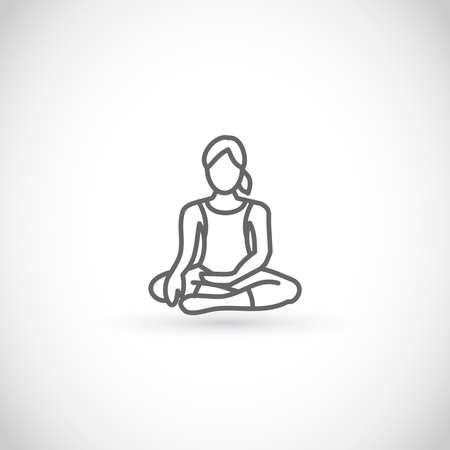 Meditating woman vector thin line style icon