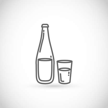 Bottle and glass of water vector icon - thin line style