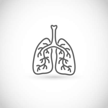 Lungs vector thin line style icon