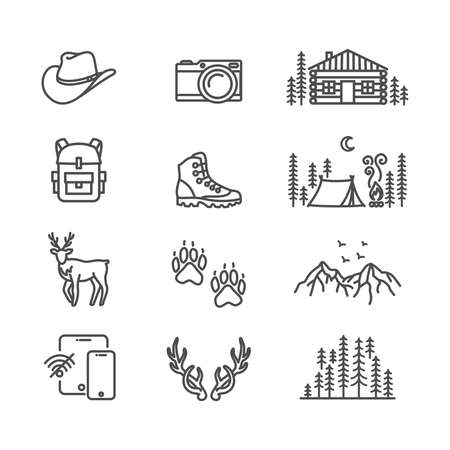 Wilderness, slow travel in nature thin line style vector icon set 矢量图像