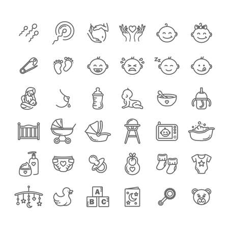 Newborn baby thin line style vector icon set, collection art