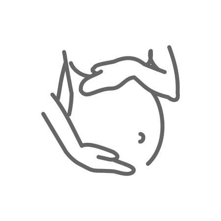 Pregnancy thin line style vector icon