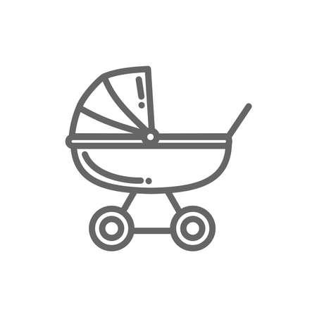 Baby stroller thin line icon vector