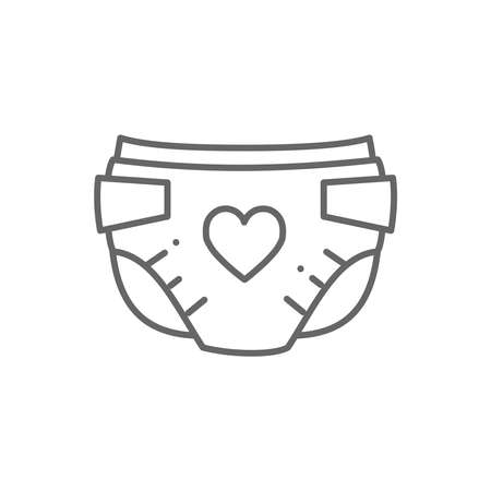 Baby diaper vector thin line style icon