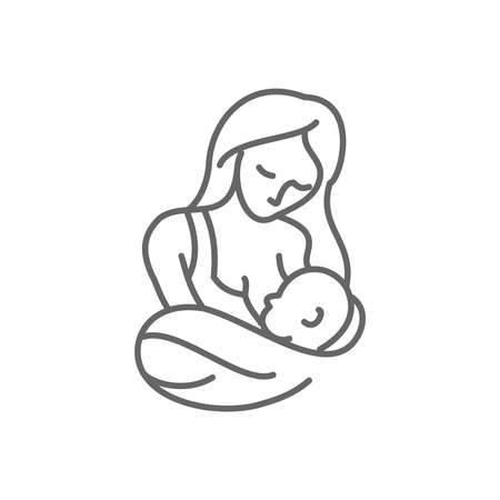 Breastfeeding thin line style vector icon