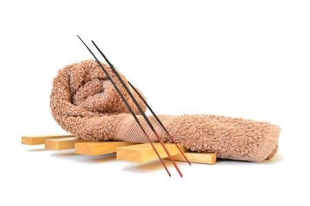 incense sticks: spa towel and incense sticks Stock Photo