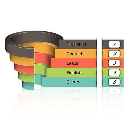 planning diagram: Le vendite imbuto su uno sfondo grigio 3D. Illustrazione vettoriale.