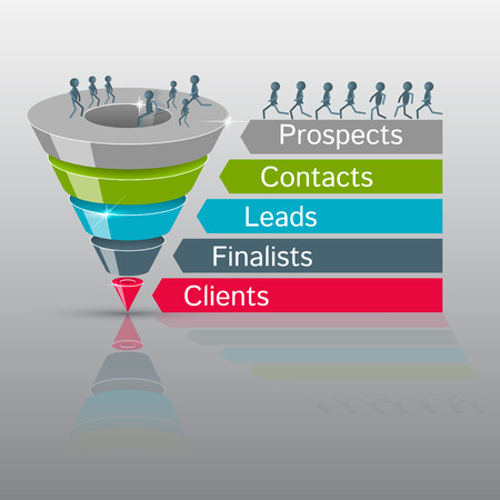 planning process: Sales funnel on a gray background 3D. Vector illustration.