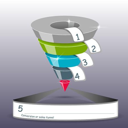 diagrama de procesos: Ventas embudo sobre un fondo gris 3D. Ilustración del vector.
