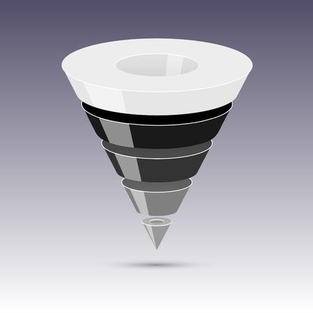 flujo de datos: Ventas embudo sobre un fondo gris 3D. Ilustraci�n del vector.