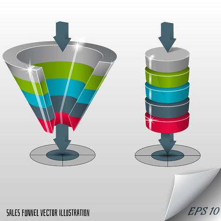 three layered: Sales funnel on a gray background 3D. Vector illustration.