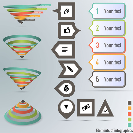 Conversion or sales funnel Vector Infographics  イラスト・ベクター素材