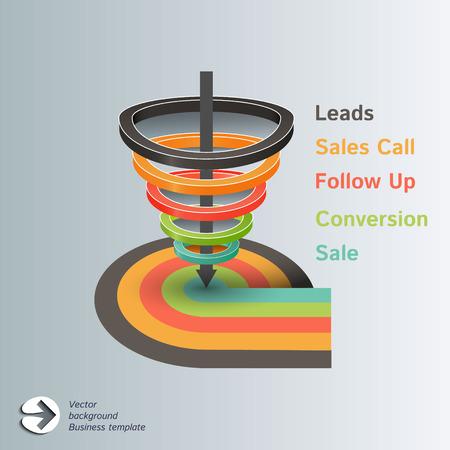 flujo de datos: Conversi�n o ventas embudo vectorial Infograf�a