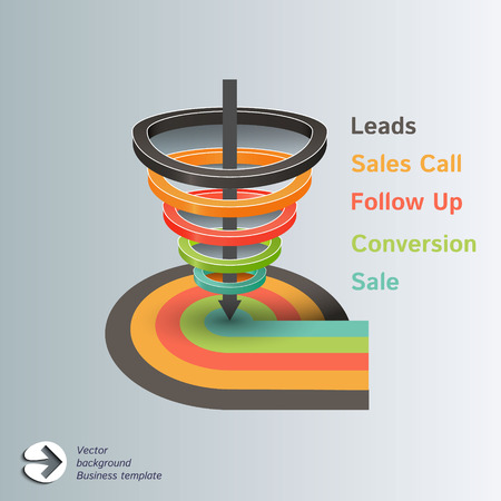 Conversion or sales funnel Vector Infographics Stock Vector - 32218138