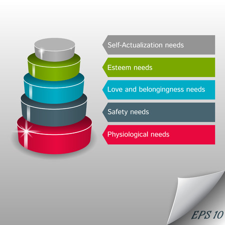 hierarchical: Infographic - vector maslow pyramid on a gray background Illustration