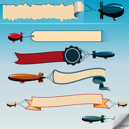 Airship  flying in the sky with banners vector set Vector