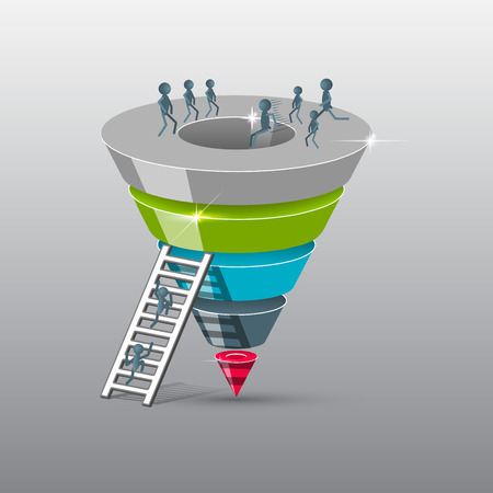 leads: Sales funnel on a gray background 3D. Vector illustration.