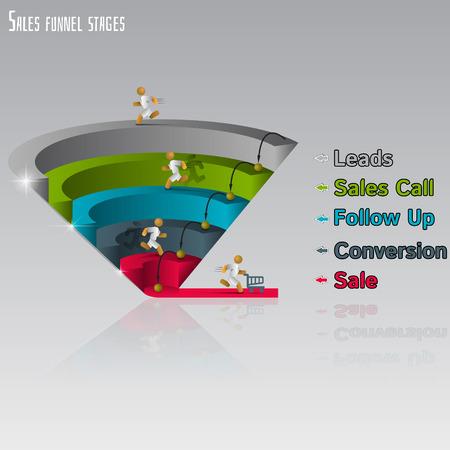 grafico vendite: Imbuto di vendita per infografica su uno sfondo grigio 3D. Illustrazione vettoriale. Vettoriali