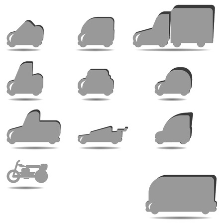 alumnos en clase: Conjunto de siluetas de coches para infographicsvector