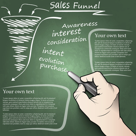 of funnel: Hand drawing concept of the sales funnel on a blackboard Illustration