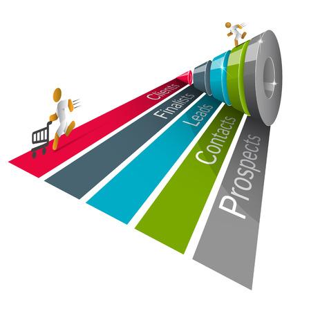 Entonnoir de ventes pour les infographies sur un fond gris 3D. Vector illustration. Banque d'images - 32654097