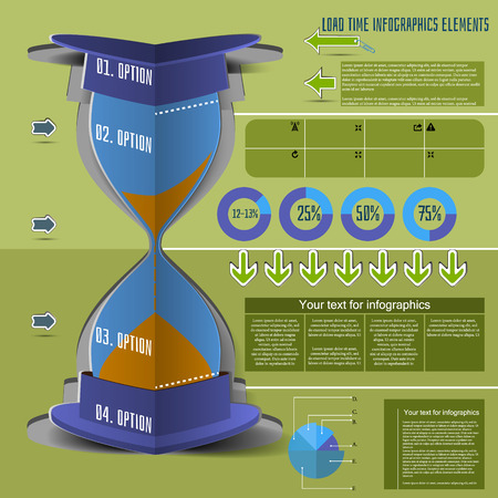 Infographics hourglass icons, tracking business processes Vector
