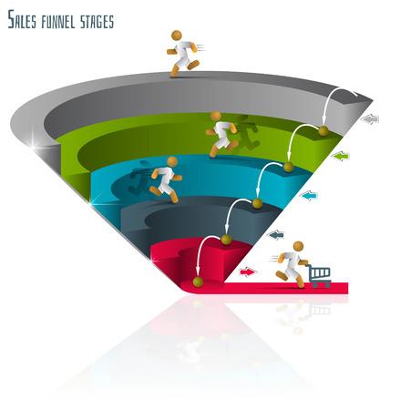 grafico vendite: Imbuto di vendita per infografica su uno sfondo bianco 3D. Illustrazione vettoriale.