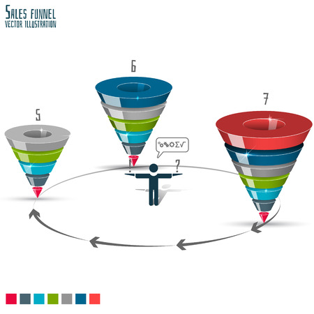 Sales funnel for infographics on a  white background 3D. Vector illustration.