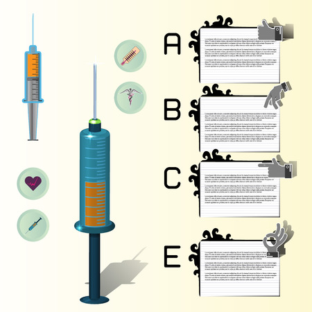 illustration of equipment and medicine in medical infographic Vector