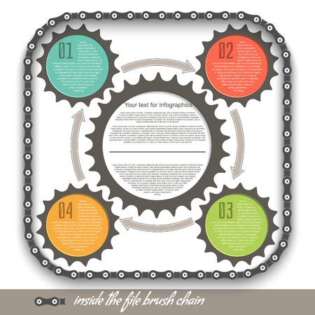 Gears on a white background, in a file brush bicycle chain Vector