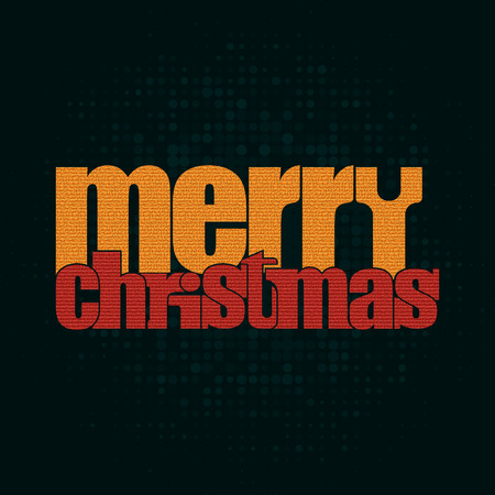 Merry Christmas typographic greeting card -  Illustration, retro poster Vector