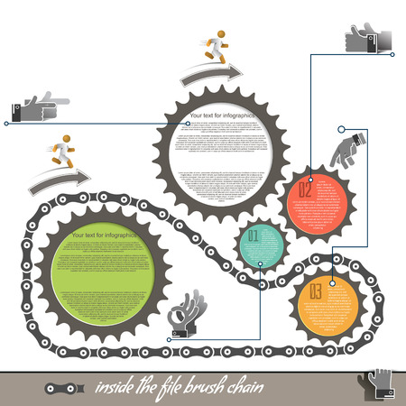 Gears on a white background icon business presentation, to a file brush bicycle chain Vector