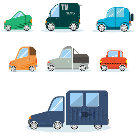 Flat cars for infographics can be used in games Vector