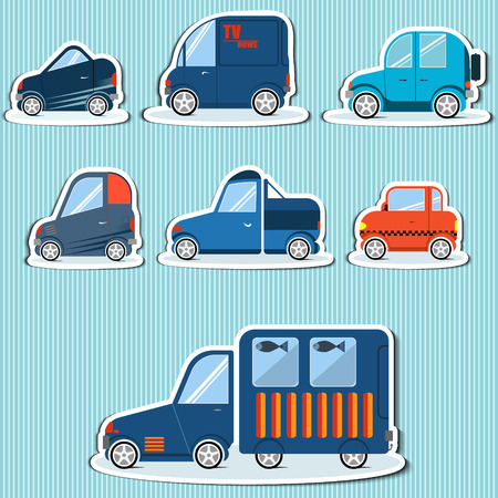 Stickers flat cars for infographics can be used in games Vector