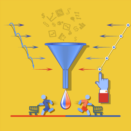 Sales funnel for infographics on a on a yellow background. Vector illustration.  イラスト・ベクター素材