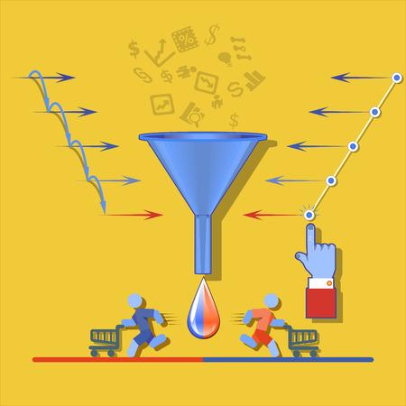 Embudo de ventas para la infografía en un sobre un fondo amarillo. Ilustración del vector. Ilustración de vector