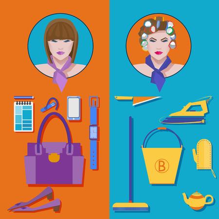 女性実業家: インフォ グラフィック要素と美容ビジネス女性のセット